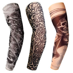 3D Tattoo Printed Outdoor Cycling Sleeves Armwarmer UV Protection MTB Bike Bicycle Sleeves Arm Protection Ridding Arm Sleeves