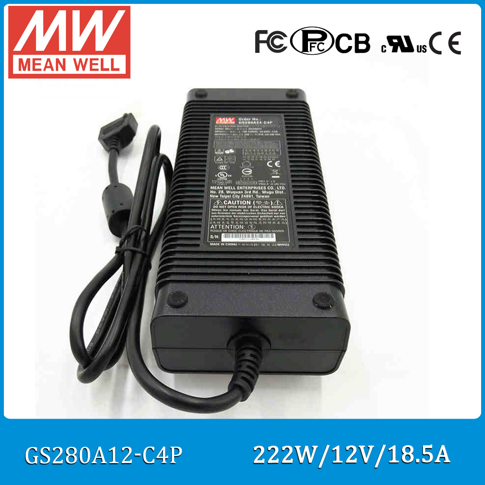 Original Meanwell GST280A12 C4P 3 pole industrial desktop adaptor 12V 18.5A 222W Level V power supply with PFC