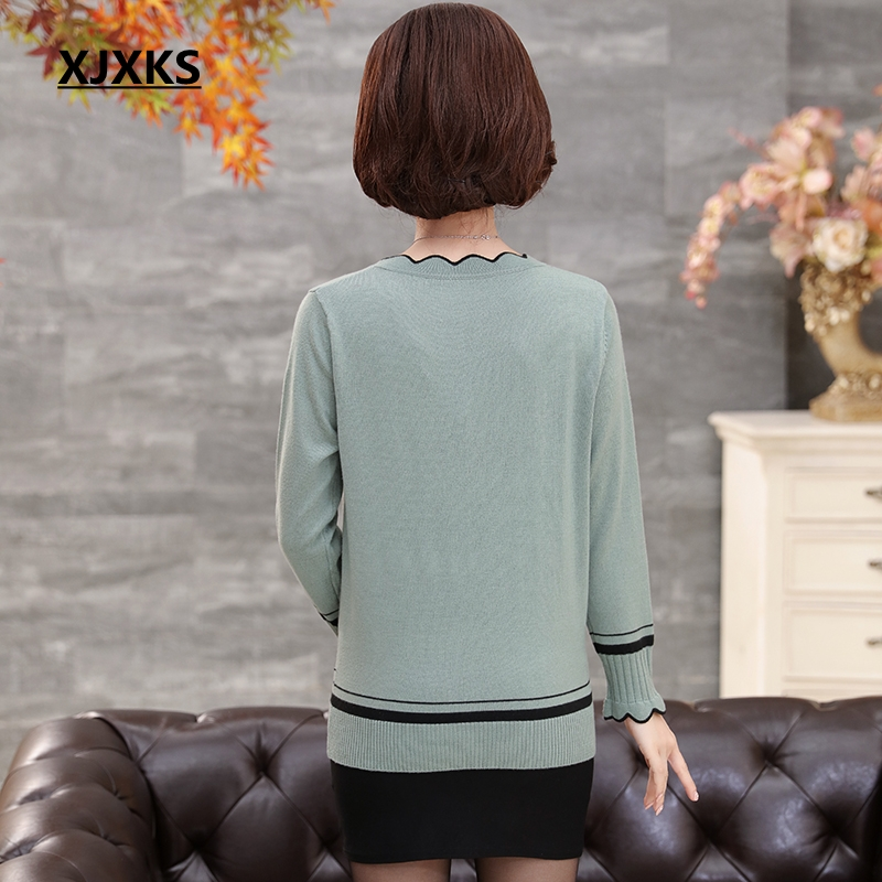Image 2 - XJXKS Spring And Autumn Long sleeved Sweater Solid Color Lotus  Leaf Collar Plus Size Loose Plus Size Cashmere Women Sweaterspring and  autumncashmere womens sweaterswomen sweater