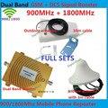 Hot Vender! 4G GSM Repetidor de Banda Dupla GSM 900 DCS 1800 MHz Sinal Do Telefone Móvel Celular Impulsionador Repetidor Amplificador Com Antenas
