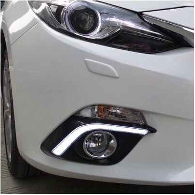 ФОТО Hireno Super-bright LED Daytime Running Light for Mazda3 Mazda 3 2014-16 LED Car DRL fog lamp 2PCS