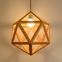 Nordic geometric solid wood lamp small Pendant Lights Japanese style simple creative restaurant cafe lighting WF4121458