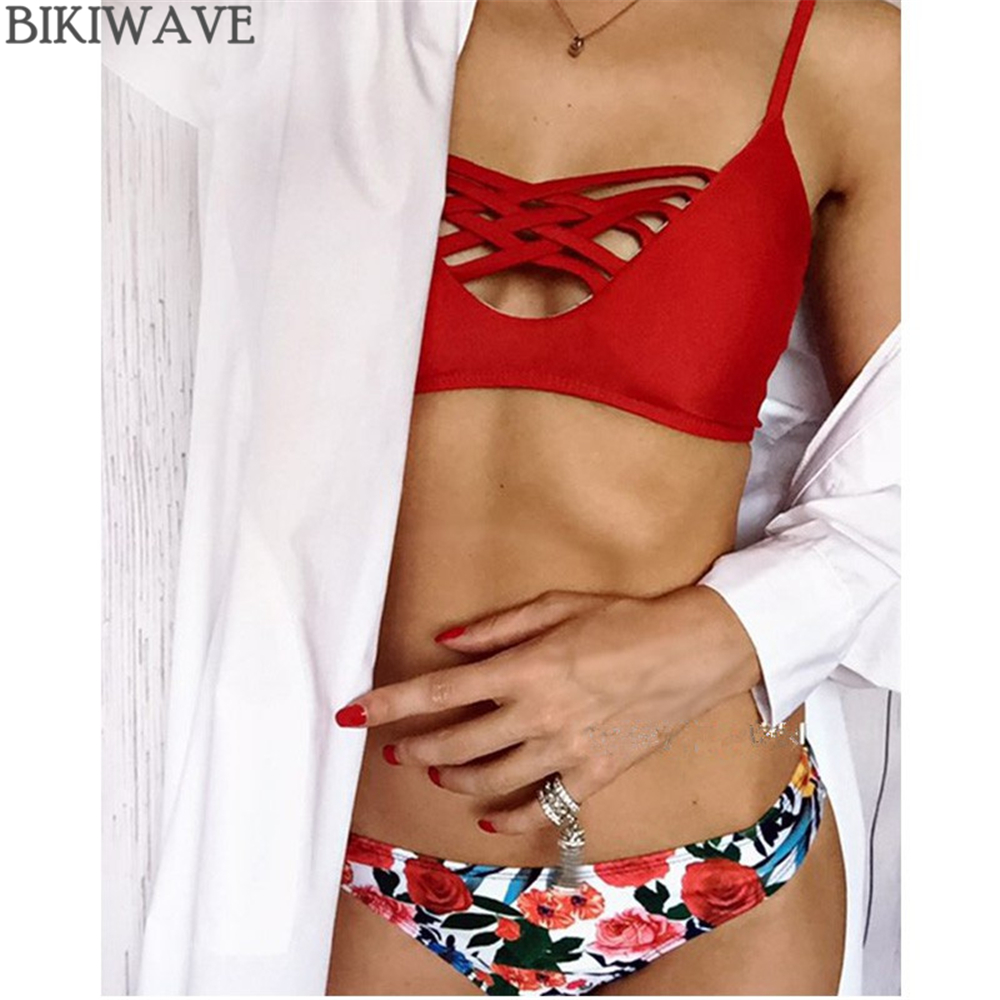 2018 Brazilian Bikini Set Sexy Cross Hollow Out Swimwear Women Bikinis Print Beach Bathing Suit Push Up Strappy Bikini Swimsuit hibkn print bikini pineapple print brazilian bikini halter swimsuit xl strappy bikinis 2018 push up swimsuit women swimsuits