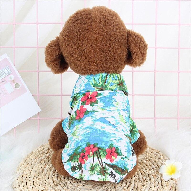 Summer Dog Beach Shirt Dog Cute Print Hawaii Beach Polo T Shirts Cool Summer Pet Travel Sunscreen Vest Small Dog Cat Blouse