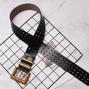 Image 5 - CHICEVER Autumn Vintage Fashion Cowskin Leather Belts Female Hollow Out Wide Belts For Women Korean Style Tide 2020