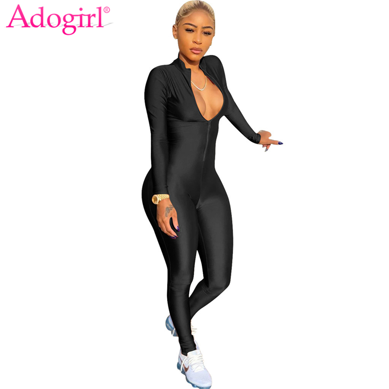 Adogirl 2018 Spring Stand Collar Long Sleeve Bandage Jumpsuits Zipper Up Skinny Women Rompers Plus Size Night Club Overalls