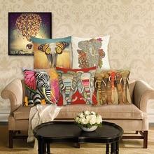 New Arrival Elephant Cushion Covers Cartoon Linen Throw Pillow Cover Decorative Pillow Case Home Decor 45x45cm Cushion Case