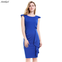 Aamikast Womens Elegant Ruffles Frill Ruched Draped Vintage Retro Tunic Slim Work Business Casual Party Bodycon Pencil Dress