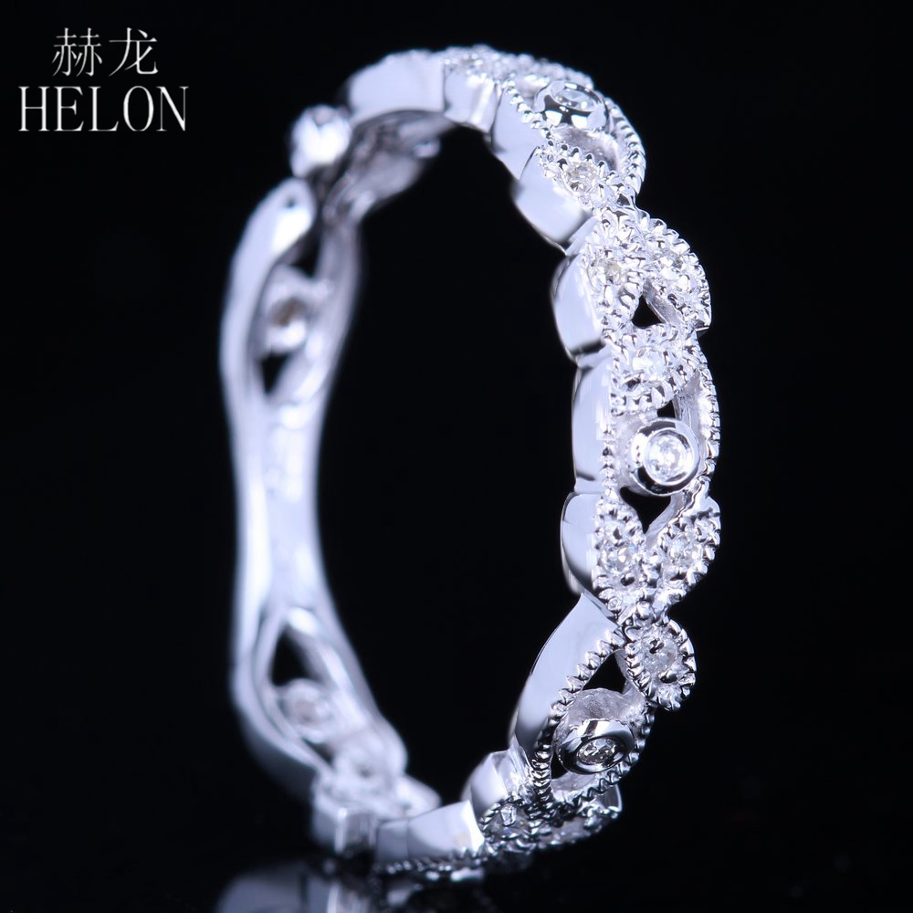 цены HELON Solid 10k (417) White Gold Genuine Natural Diamonds Art Deco Milgrain Engagement Wedding Women Trendy Fine Jewelry Ring