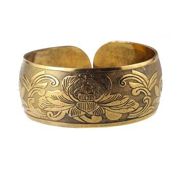 Antique Bronze Tone Gypsy Metal Carving Cuff Bracelet