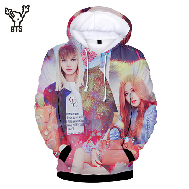 BTS 3D BLACKPINK Women Long sleeve Hooides Sweatshirts Casual Autumn Print Plus Size