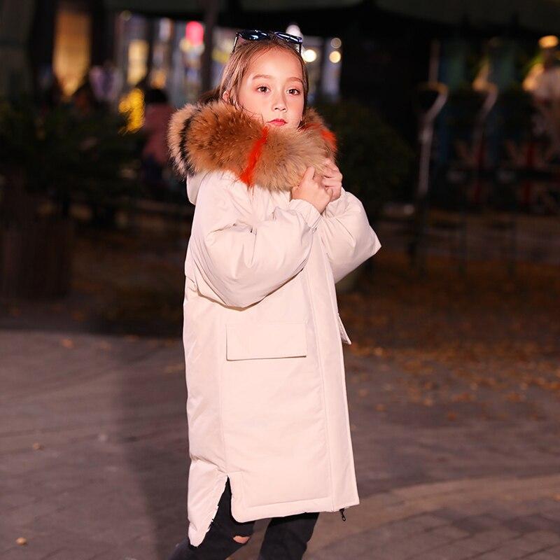HSSCZL meisjes duck down jassen 2019 winter dikker jas grote meisje hooded natuurlijke kinderen bovenkleding jas kinderkleding 6 14 - 3