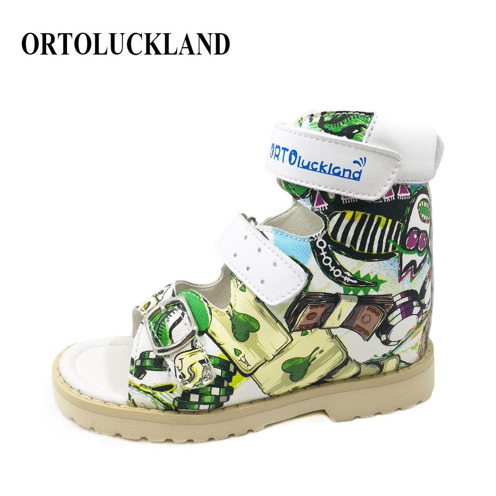 Ortoluckland Baby Kids Shoes For Girl Orthopedic Printing Leather Graffiti Sandals New Orthotic Shoes With Hook and Loop Design