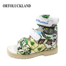 Ortoluckland sandały dziecięce chłopcy letnie skórzane buty ortopedyczne dla dzieci boso maluch drukowanie obuwia Arch wkładka tanie tanio 25-36m 4-6y 7-12y 15cm 16cm 17cm 18cm 19cm 20cm CN (pochodzenie) Lato Moda sandały oddychająca ANTYPOŚLIZGOWE Skóra drukowana