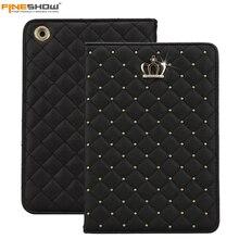 Fineshow moda corona del diamante de bling case de protección para ipad air folio del cuero del soporte elegante de la cubierta para apple ipad air tablet case