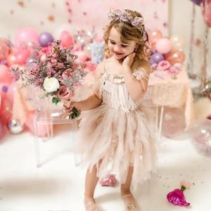 Image 5 - אופנה נוצת גדילים בנות שמלת 2 10 yrs ילדה מסיבת חתונה שמלות ילדים נסיכת שמלת יום הולדת תלבושות בגדי ילדים