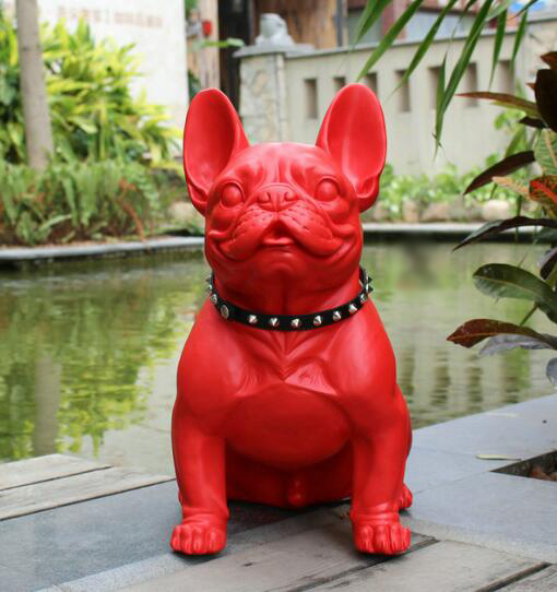 handmade polyresin craft red and black dog modern fashion entranceway lucky bulldog resin dog statues home decoration