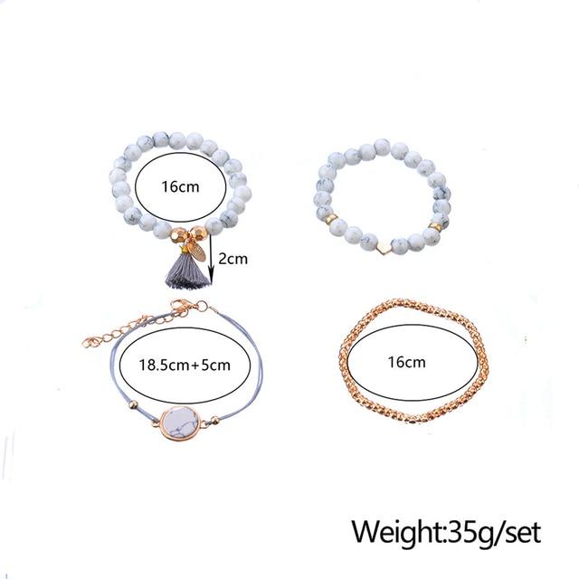 Bohemian Marble Stone Beads Bracelet Set  5