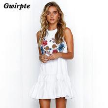 a36e9d7cac6068e Gwirpte 2018 новый сезон весна-лето пикантные рукавов женщины печати платье  молодежная мода продавец рекомендует Лидер продаж