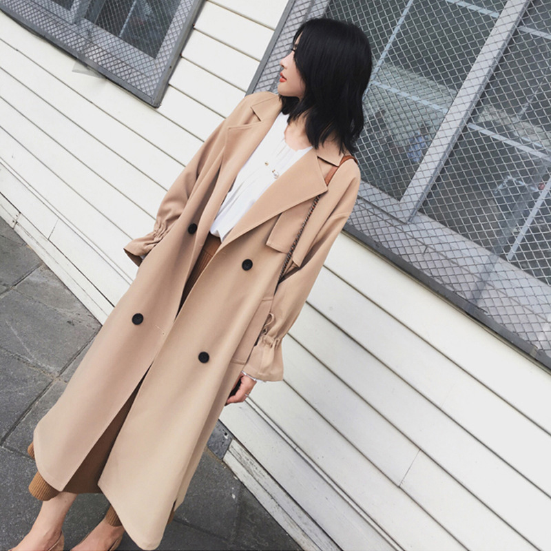 Liva girl 2019 Autumn New Women's Casual   Trench   Coat Oversize Double Breasted Vintage Washed Outwear Clothing