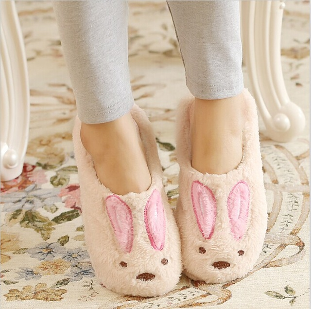 Cute Rabbit Winter Slippers Soft Plush Corduroy Couple Slippers Warm House Shoes Women Home Slippers Men Indoor Shoes Pantuflas qweek women home animal slippers fur indoor rabbit slippers warm ladies cute funny adult slippers female slide house shoes