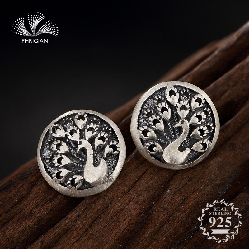 NOT FAKE S925 Fine Jewelry Earrings 925 Sterling Silver Women Antique store Vintage Nature Retro Exquisite peacock bird animal fly