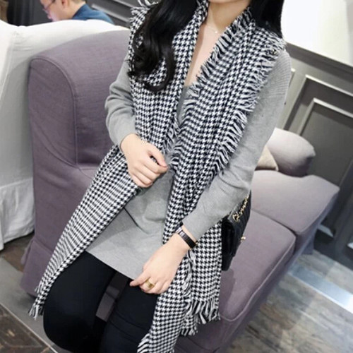 Celebrity Style New Fashion Autumn Winter Classic White & Black Plaid Scarf Women Evening Wraps Shawl Scarves - Shenzhen Sundah Tech Co., Ltd.(Craft Gift Dept. store)