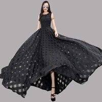 2016 Wiosna Nowych Europejskich Kobiet Temperament Slim Długi Organza Suknia Piętro Długość Czarny Suknie Wokół Szyi Długi Vestidos ZA095
