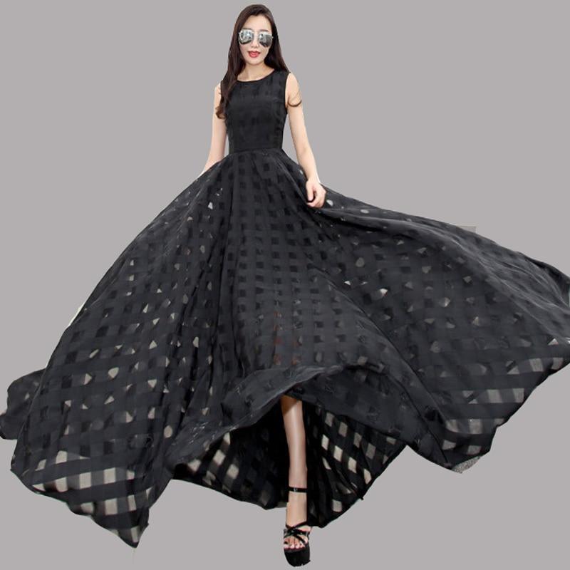 2016 primavera New europeu feminino temperamento Long Slim vestido de Organza andar de comprimento Vestidos pretos em torno do pescoço longo Vestidos ZA095