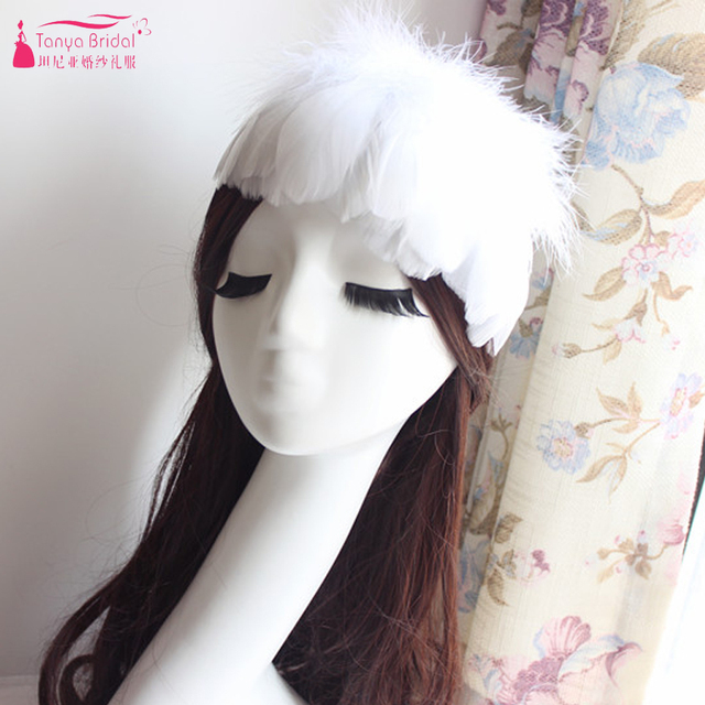 Luxury Wedding Hats Three Color White/Red/Black Feather forehead Hair Accessories Women Formal Special Event Accessories   Z808