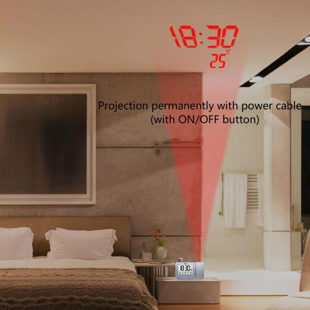 Image 3 - FanJu FJ3531 проекционный будильник цифровые часы с функцией повтора даты подсветка проектор стол настольные светодиодные часы с проекцией времени-in Будильники from Дом и животные