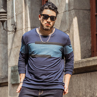 Tide brand large size T shirt male Long sleeved round neck loose cotton Extra large stitching hit color T shirt Size 7XL