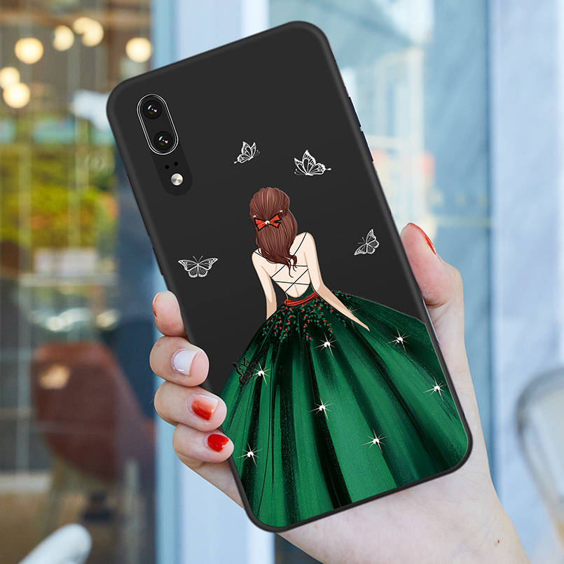 Silicone Case For Huawei P30 Pro P30 Lite Case Luxury Girl Dress Bumper For Huawei P20 P20 Lite P Smart Funda Coque in Fitted Cases from Cellphones Telecommunications