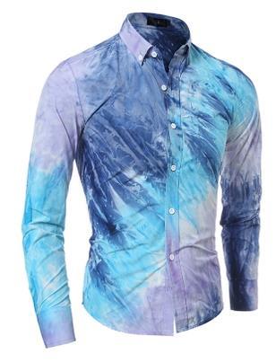 Camisas Camisa Masculina Men 39 s Fashion Slim Fit Casual Shirt Long Sleeve Shirts Printing Men Shirt Asian Size in Casual Shirts from Men 39 s Clothing