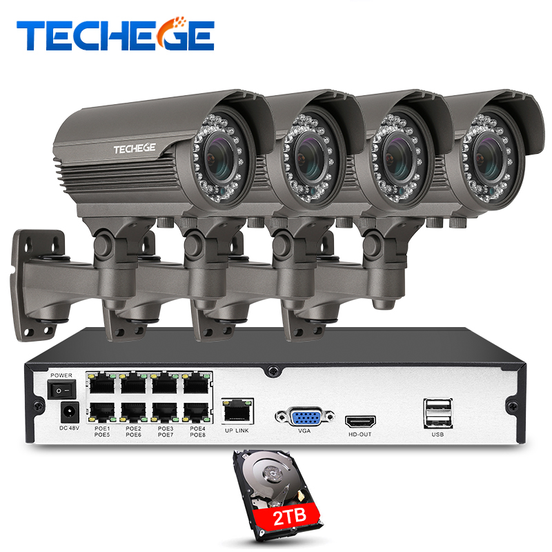 Techege 8CH 1080 P NVR sistema de Câmera De Segurança POE 2.8-12mm Manual lente 1080 P P2P IP à prova d' água Sistema de CFTV de vigilância Kits