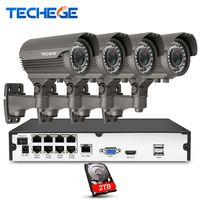 Techege 8CH 1080P Security Camera POE NVR system 2.8 12mm Manually lens 1080P IP waterproof P2P Surveillance CCTV System Kits