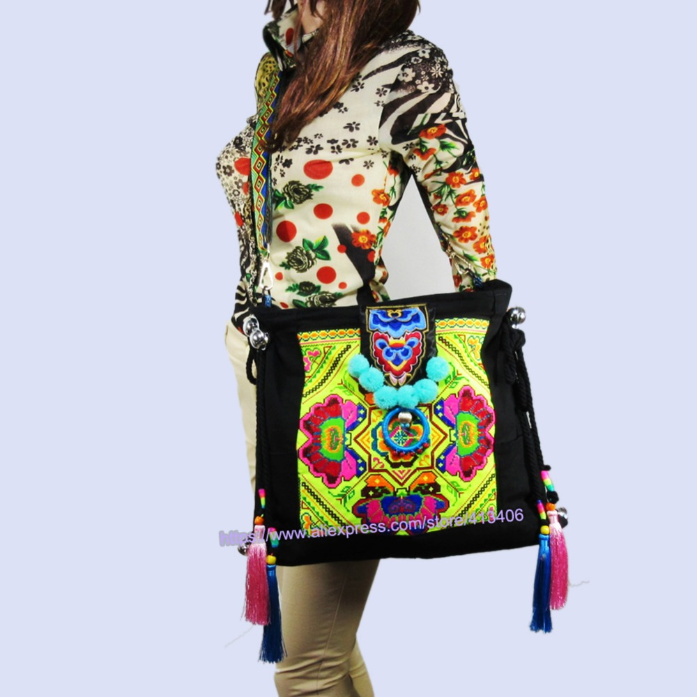 2-Usage Hmong Vintage Ethnic Tribal Thai Bohemian shoulder bag messenger tote bag handmade, embroidery pom trim bell bag SYS-555 цена