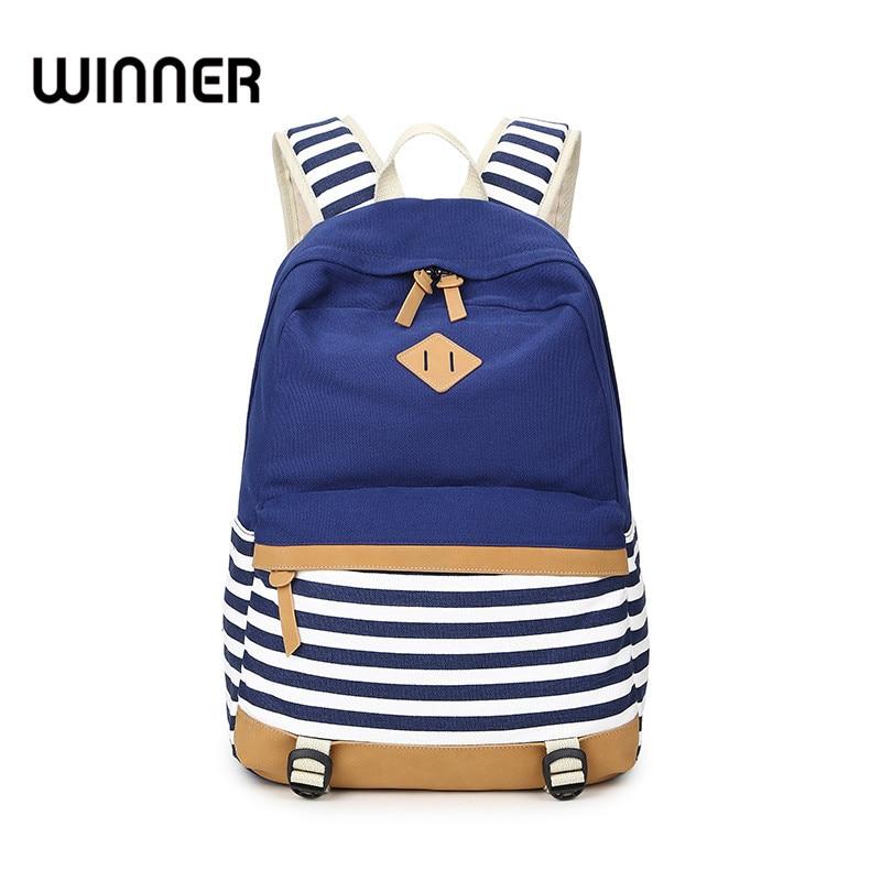 Winner Preppy Bagpack Female Canvas Striped Printing Backpack Women Computer Back Pack Lady School Bags for Teenagers Girls