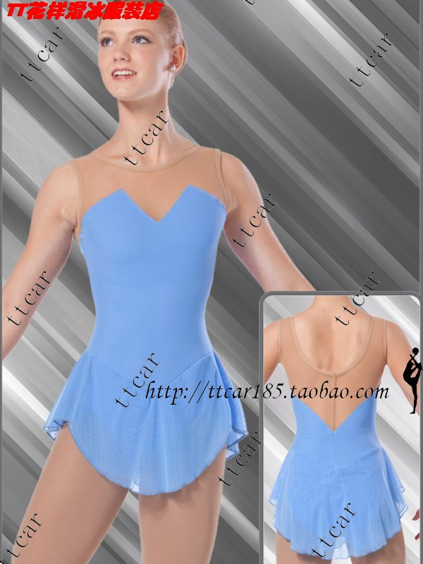 blue ice skating dress cheap figure skating clothing hot sale ice skating suits children ice skating dress free shipping