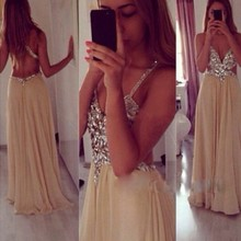 Deep V neck Opening Back Sexy Prom Dress 2015 vestidos A line Khaki Chiffon Floor Length Formal Evening Gowns