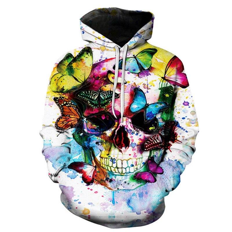 2018 3D Print Skull Butterfly Women/Men Hooded Sweatshirt Hoodies Front Pocket Loose Hoodies Long Sleeve Unisex Hoodies Outwears