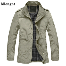 M-5XL Men Long Trench Coat For Spring Autumn Thin Windbreaker Parka Su