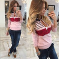 Fashion Womens Long Sleeve V Neck Knitted Sweater Ladies Casual Zip Jumper Pullover Tops