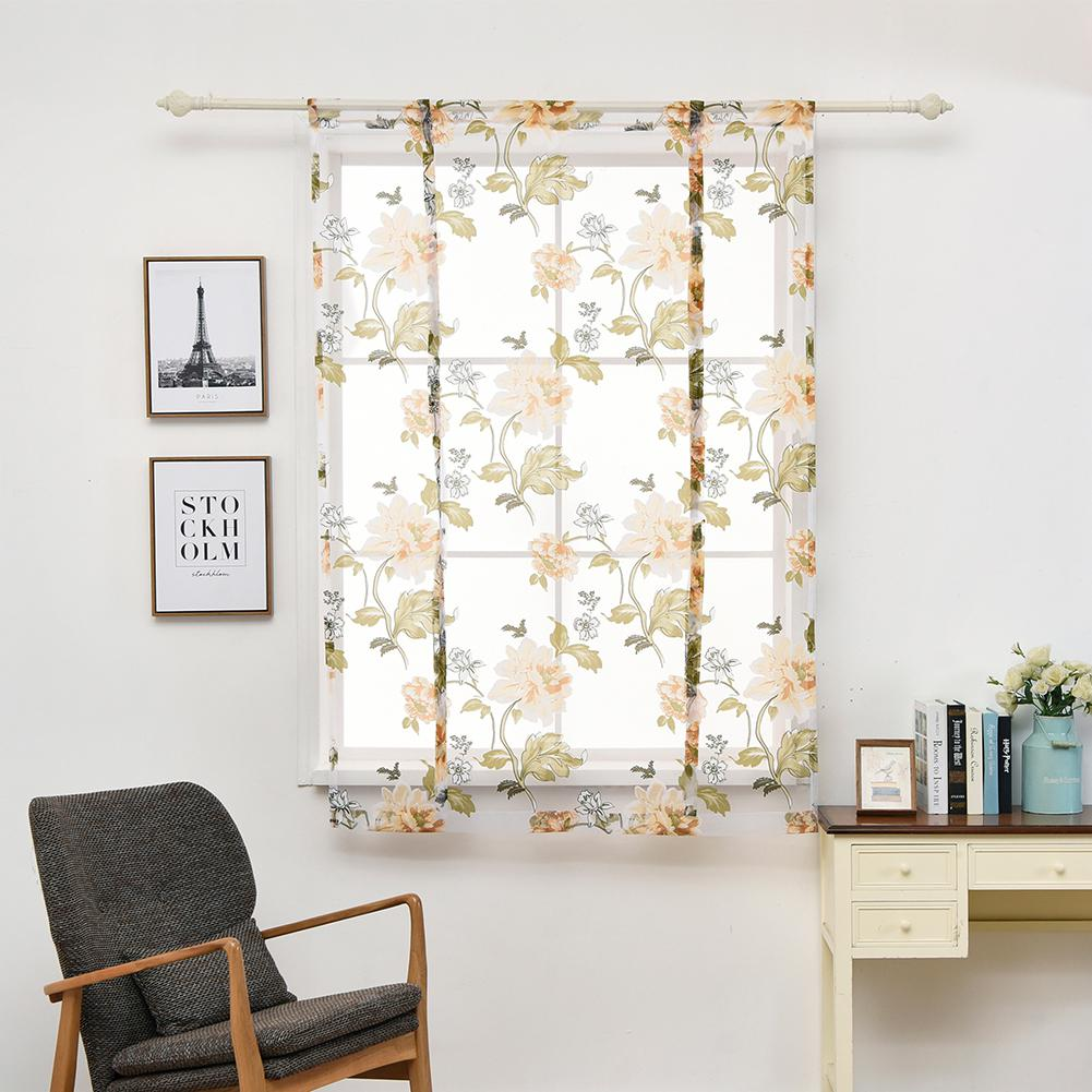 None Peony Pattern Short Sheer Curtains Roman Blinds Tulle