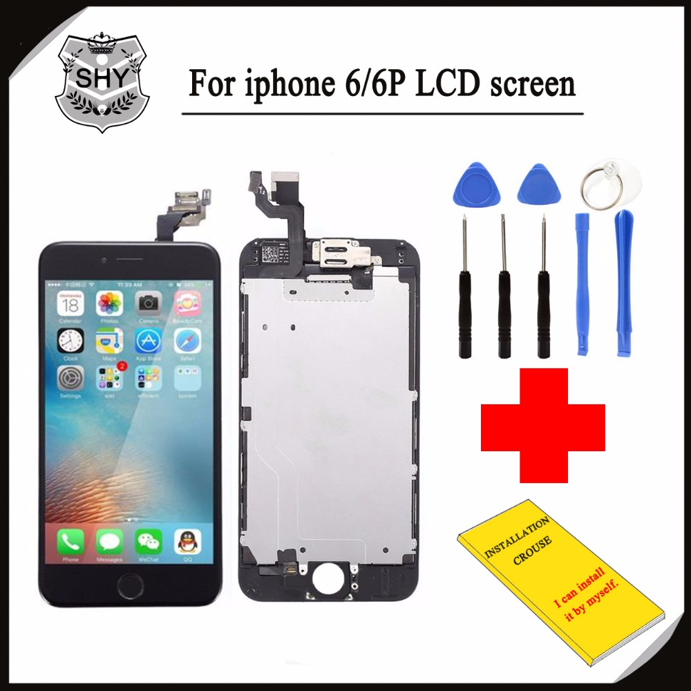 ФОТО White or Black For iPhone 6 4.7 inch LCD Display Digitizer Screen Assembly+Frame+Front Camera+Tools+DIY Installation Instruction