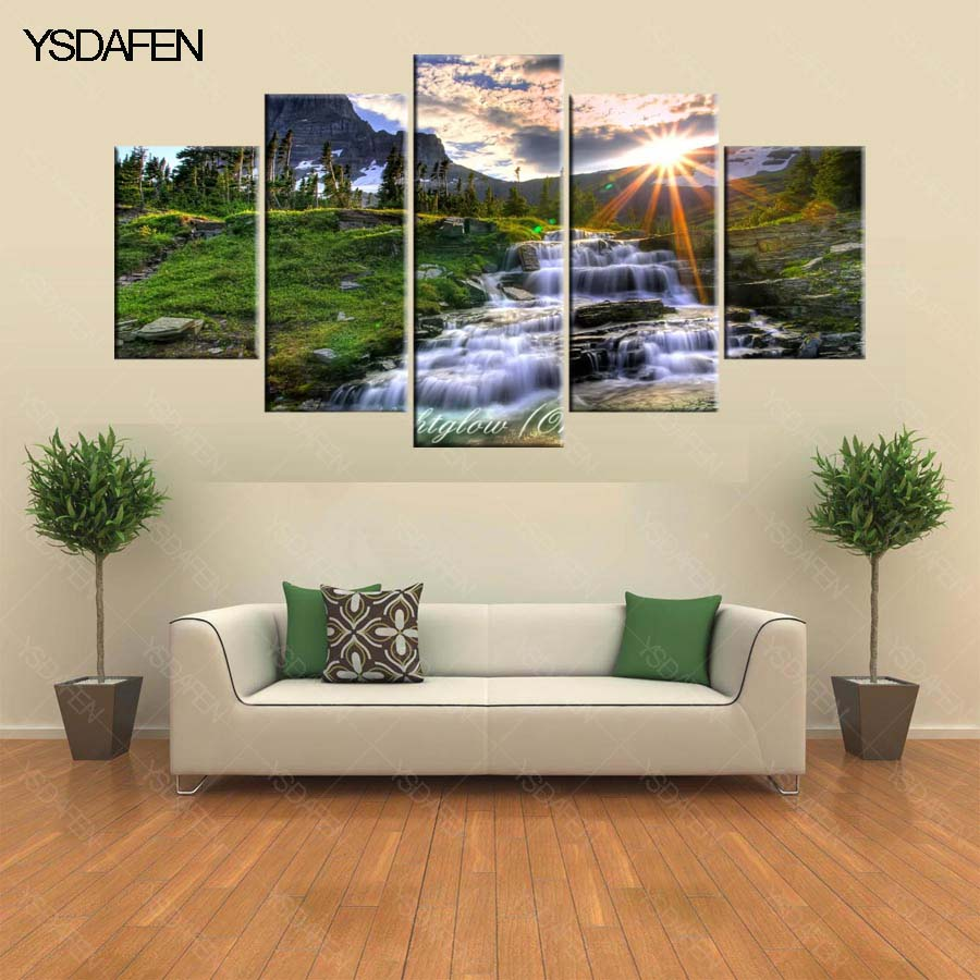 5 Panel Wall Pictures Waterfall Painting for Living Room ...