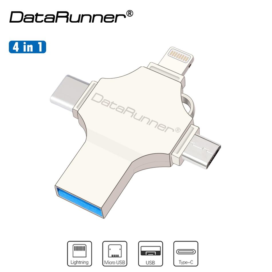 New DataRunner USB Flash Drive 128GB OTG Pen Drive 32GB 64GB Pendrive 4 In 1 USB3.0/iOS/Micro Usb /Type C USB Flash Memory Disk