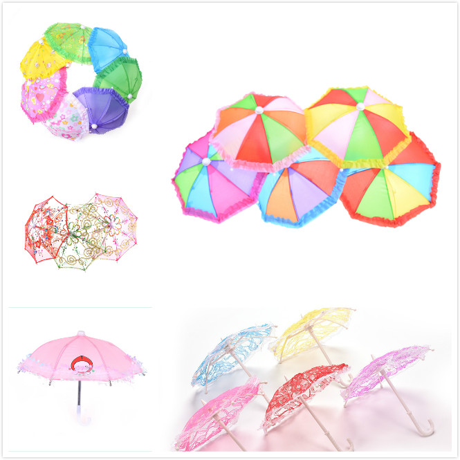 One Or 2pcs Style Mini Umbrella Rain Gear For 18 Inch  Baby Doll Life Journey Dolls Accessory Birthday Gift For Children