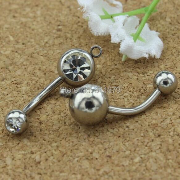 """(14 גרם * 12*5/8 מ""""מ) חישוק אנכי כפולים טבעת בטן להוסיף הקסם שלך תכשיטי גוף CZ נקה צבע קריסטל"""