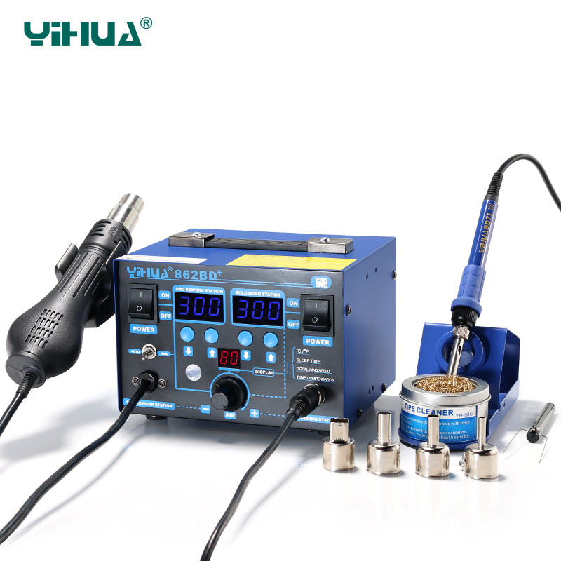High Power YIHUA 862BD+ Hot Air Soldering Station With Imported Heater Used For Phone repair And Solder used for symbol mc3090 mc3190 communication station with power adapter 100